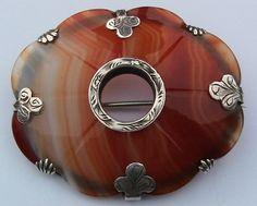 Victorian Scottish silver & carnelian agate brooch