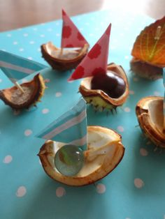 Hej Hanse: Boat made of chestnut shells. Autumn Activities For Kids, Games For Kids, Diy For Kids, Crafts For Kids, Nature Crafts, Fall Crafts, Diy And Crafts, Fall Projects, Projects For Kids
