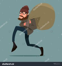 Sneaking Thief, Cartoon Character, Vector Illustration - 370407929 : Shutterstock