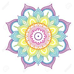 Rainbow Colorful Mandala On Pink Background, Illustration Stock Vector - Illustration of drawing, oriental: 83801792 Mandala Art, Image Mandala, Mandalas Drawing, Mandala Coloring Pages, Zentangles, Lotus Flower Art, Photo Images, Design Tattoo, Rainbows