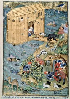 """jothelibrarian: """" Pretty medieval manuscript of the day is Noah and his ark, and all the animals. It is another glorious illumination from the Bedford Hours.* I love this illustration. Medieval Life, Medieval Art, Medieval Manuscript, Illuminated Manuscript, World History Facts, Illustrations Vintage, Medieval Paintings, Book Of Hours, Prayer Book"""