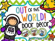"""This door decor kit is perfect for PARP.  This is an """"Out of this World"""" door decor kit.  This set includes """"Our Readers are Out of This World,""""  """"_______'s Readers are Out of this World,"""" """"___'s Kindergarteners are Out of This World,"""" """"_____'s First Graders are Out of This World,"""" """"_____'s Second Graders are Out of This World"""" door signs with various choices of space people."""