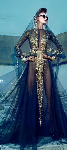 Nicolas Jebran Couture F/W 2013 | Galaxy Universe Cosmic Style Vogue Dress Sheer Gold Celestial |