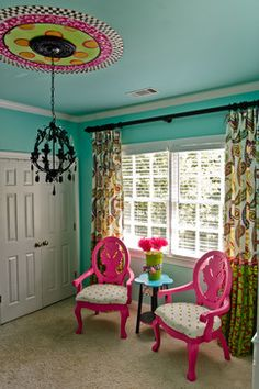 love the ceiling and circle around light. hot pink fr Victorian seat Turquoise Tween Bedroom - Canton, Ga eclectic kids