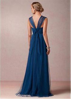 Chic Tulle V-neck Neckline Full-length A-line Convertible Bridesmaid Dress