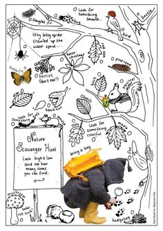 ☆ Get outside and have some fun! Free printable and coloring page for your own nature scavenger hunt.