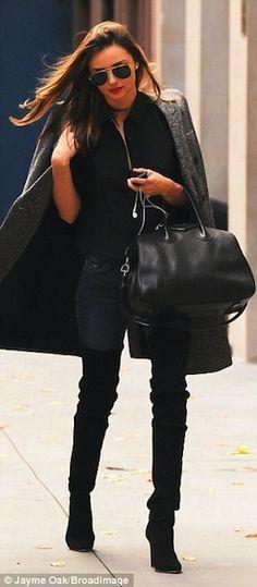 Miranda Kerr Style Over the Knee Boots Aviator Sunglasses Givenchy Bag-03