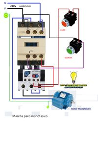Esquemas eléctricos: conexión de un motor monofasico de marcha paro