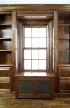 Built-In home office cabinets with matching radiator cover. Living Room Redo, Living Room Windows, Living Rooms, Built In Desk, Built Ins, Tv Shelving Unit, Home Radiators, Window Seat Kitchen, Window Seats