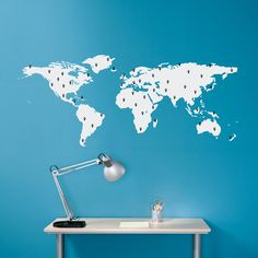 Facebookcareerwise military cartoon pinterest office world map decal with 50 marking pins by stephenedwardgraphic gumiabroncs Gallery