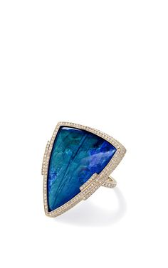 One Of A Kind Spectrolite And White Diamond Triangular Ring by Monique Péan