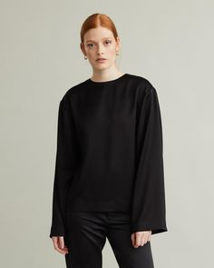 Loose-fit blouse cut from a soft and heavy tri-acetate blend for beautiful drape and weight. A paired-down aesthetic consisting of a wide long sleeve, round neckline and a straight hem. Apothecary, Designing Women, Loose Fit, Neckline, Sweatshirts, Blouse, Long Sleeve, Fitness, Sleeves