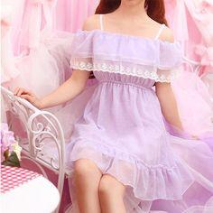 "Japanese sweet dew shoulder chiffon dress  Coupon code ""cutekawaii "" for 10% off"