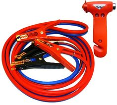 Car Emergency Combo Heavy Duty 500 amp 6 Gauge No Tangle Battery Booster Cables 12 Feet with FREE Travel Case  Extra Long 12 Ft Jumper Cables WITH Emergency Escape Hammer  Window Breaking Seatbelt Cutter *** Check this awesome product by going to the link at the image.Note:It is affiliate link to Amazon.