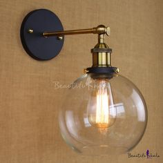 BAYCHEER Industrial Vintage Style Wide Single Light Wall sconces Wall Light Lamp with Glass Globe Shade use 1 Bulb in Black Indoor Wall Sconces, Rustic Wall Sconces, Bathroom Wall Sconces, Modern Wall Sconces, Candle Wall Sconces, Wall Lamps, Wall Fixtures, Industrial Wall Lights, Industrial Light Fixtures
