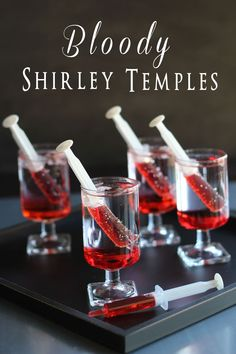 Bloody Shirley Temples Use Sprite or 7-up, suck up Grenadine in syringe and place in glass. For adults add some vodka.