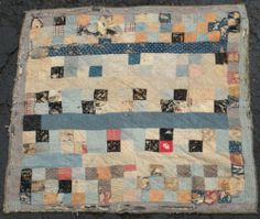 ANTIQUE 1800S BLUE SQUARE PENNSYLVANIA QUILT GREAT BACKING MATERIAL vafo