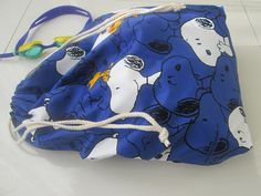 Blue Snoopy fabric swim bag cotton nylon lining by drawastring, $10.00