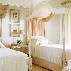 Tasked with reimagining a historic plantation house in the West Indies, designer Emma Burns of the firm Sibyl Colefax & John Fowler used a soft palette in the children's room. A peach Manuel Canovas fabric adds subtle interest to a pair of canopy beds. (August 2006)