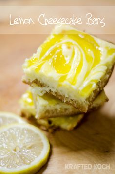 Lemon Cheesecake Bars are a sweet treat with a sugar cookie crust, a rich cheesecake layer and a tart lemon curd swirled throughout. They are fantastic dessert for any special occasion! Lemon Desserts, Lemon Recipes, Köstliche Desserts, Sweet Recipes, Delicious Desserts, Dessert Recipes, Yummy Food, Lemon Cheesecake Bars, Cheesecake Recipes