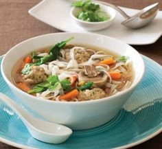 Asian-style meatball and noodle soup | Healthy Food Guide