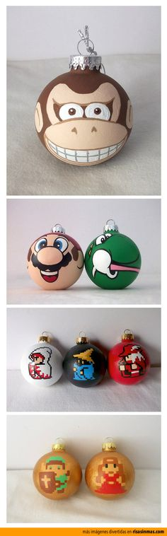 hand painted Nintendo holiday ornaments, super cute!