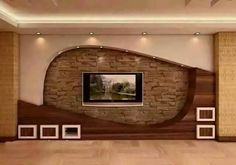 Home Decor: 20 Wonderful places for TV wall mount Wall Unit Designs, Living Room Tv Unit Designs, Tv Wall Design, Tv Stand Modern Design, Tv Stand Designs, Tv Unit Furniture Design, Tv Unit Interior Design, Modern Interior, Modern Tv Wall Units