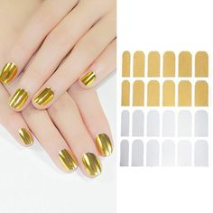 16 in 1 Nail Art DIY Decorations Patch Foils Decal Stickers Tips Wraps Sheet Silver / Gold