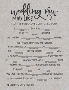 mad libs advice for the happy couple bridal shower game