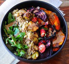 Roasted Veggie Quinoa Tahini Bowl
