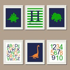 DINOSAUR Nursery Art Decor Name Monogram Initial ABC 123 Navy Orange Green Set of 6 Prints Dino Nature Boy Playroom Wall Art Bedding Picture on Etsy, $54.00