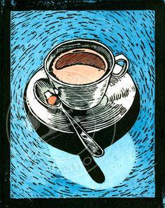 Coffee Cup Lino Block print, color version :: Stock illustration by William McAusland:: Mcausland Studios, freelance illustrator, digital and traditional artist