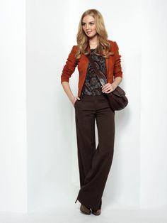 Fall fashion for work done well. I love the addition of the pop of fall orange.