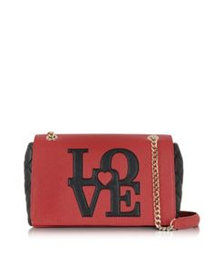 LOVE MOSCHINO RED & BLACK ECO LEATHER MEDIUM SHOULDER BAG
