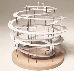 In love for this scale model. The observation deck. Folding Architecture, Concept Models Architecture, Landscape Architecture, Architecture Design, Pavilion Design, Arch Model, Staircase Design, Scale Models, Layout