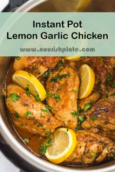 Instant Pot Lemon Garlic Chicken recipe is one of the most delicious meals that you can make in your instant pot. It's tasty, creamy and zesty. It' easy and quick to make as it takes only 20 minutes to be ready! Instant Pot Pressure Cooker, Pressure Cooker Recipes, Slow Cooker, Pressure Cooking, Garlic Chicken Recipes, Zesty Lemon Chicken Recipe, One Pot Chicken, Ip Chicken, Instant Pot Dinner Recipes
