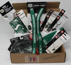 Fan-gear gift box of 6 Saskatchwan Roughriders Products, best gift of CFL team souvenirs, Fan-gear at GREAT VALUE! Canada's sports gift box service, combos available in CAD or build your OWN BOX! Saskatchewan Roughriders, Certificate Of Achievement, Sports Gifts, Fan Gear, Best Gifts, Fans, Packing, Content, Products