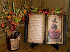 primitive fall crafts, This is my favorit time of year! I love all the primitive colors of fall, This is a little book I made with a little . Vintage Halloween Crafts, Halloween Poems, Halloween Goodies, Vintage Crafts, Halloween Party Decor, Halloween House, Holidays Halloween, Haunted Halloween, Primitive Fall Crafts