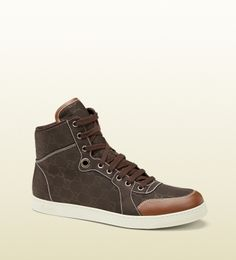 Gucci - 283484 KBT40 2163 - brown nylon guccissima high-top sneaker - brown nylon guccissima cuir leather trim brown leather detail *Made in Italy rubber sole