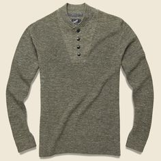 Grayers Wadsworth Wool/Linen Henley Sweater - Olive