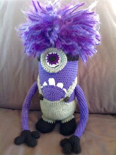 Evil Purple Minion crochet doll, I have no pattern for him as I made him up as I went along.
