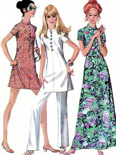 McCalls 2371 Vintage Sewing Pattern Lovely Asian Inspired Mod Nehru Collar Tunic Top, Mini Dress, Hawaiian Hostess Maxi Gown UNCUT Several Sizes Available-Authentic vintage sewing patterns: This is a fabulous original dress making pattern, not a Vintage Patterns, Sewing Patterns, Dress Making Patterns, Tunic Pattern, Maxi Gowns, Simplicity Patterns, Fashion Over, Vintage 70s, Chinese Dresses