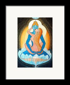 Love Framed Print featuring the painting Tantric Love by Agnieszka Szalabska