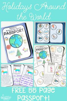 What's better than a FREE 55 page Holidays Around the World Passport? Links to all the songs, videos and brain breaks you need for your entire holiday unit! around the world Holidays Around the World – Videos, Songs & LOTS of Links Around The World Theme, Celebration Around The World, Holidays Around The World, Around The Worlds, Around The World Crafts For Kids, Kindergarten Social Studies, Social Studies Activities, Classroom Activities, Multicultural Activities