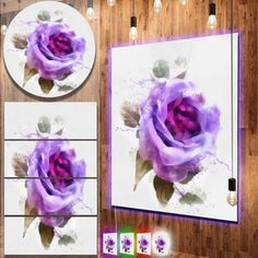 nice Designart 'Watercolor Purple Rose with Leaves' Flower Aluminium Wall Art Check more at http://hasiera.co.uk/s/furnishings/product/designart-watercolor-purple-rose-with-leaves-flower-aluminium-wall-art/