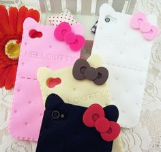 Funny & Cute Hello Kitty with Bow Biscuit Silicon iPhone Case for iPhone 4/4S/5