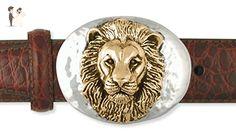 Sterling Silver and Yellow Bronze Handmade Lion Belt Buckle Jewelry HM-LI1-BBZ - Groom cufflinks and tie clips (*Amazon Partner-Link)