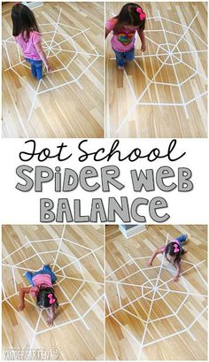 Learning is more fun when it involves movement! Practice balancing hopping jumping crawling running and more with this giant spider web gross motor activity. Great for tot school preschool or even kindergarten! Insect Activities, Gross Motor Activities, Halloween Activities, Toddler Activities, Movement Activities, Sensory Activities, Learning Activities, Preschool At Home, Preschool Lessons