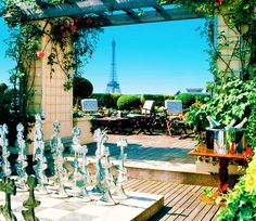Views of the Eiffel Tower from Hotel Raphael, Paris