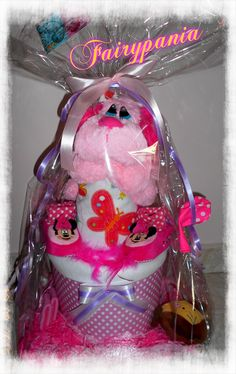 new born diaper cake soft pink dog